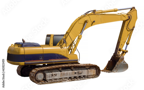 Excavator shovel loader, isolated