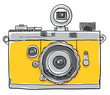 Yellow camera vintage painting line art - 63823685