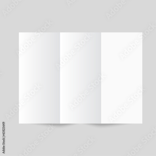 White stationery: blank trifold paper brochure