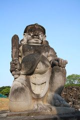 Dvarapala (guardian) statue at main entrance in Candi Sewu