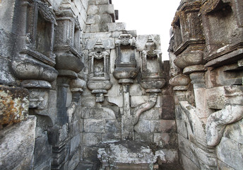 Detailed stone work in Candi Sewu
