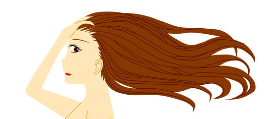 髪をかきあげる女性