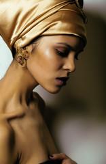 Beauty african woman in shawl on head, very elegant look