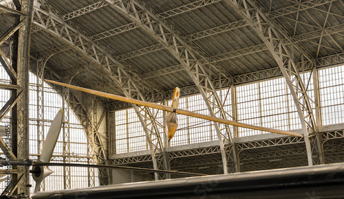 Vintage Airplane Inside A Hangar
