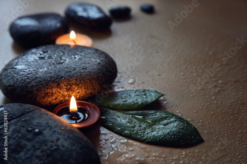 Stones and aromatherapy candle