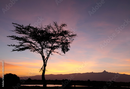 Mount kenya during sunrise, Ol Pejeta Conservancy, kenya