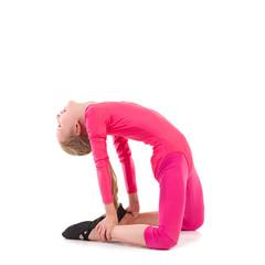 Little gymnastics girl stretching
