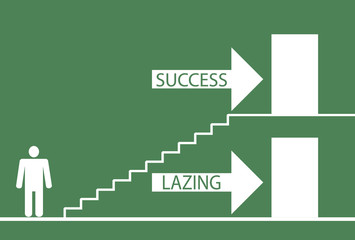 Illustration depicting a choice between laziness and success.