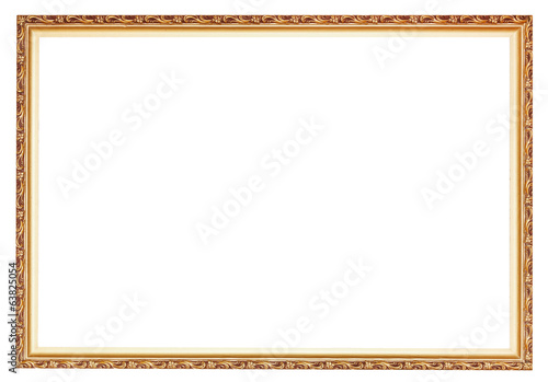narrow carved ancient gold wooden picture frame