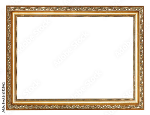 wide carved ancient gold wooden picture frame
