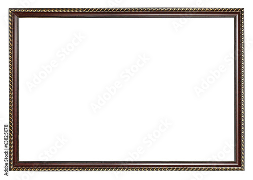 narrow ancient dark brown wooden picture frame