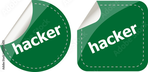 hacker stickers set on white, icon button isolated on white