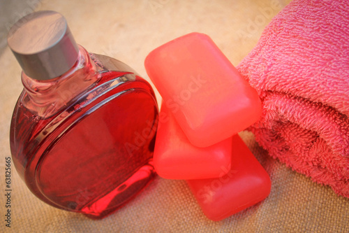 Towel, soap, shampoo