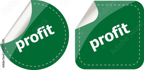 stickers label set business tag with profit word