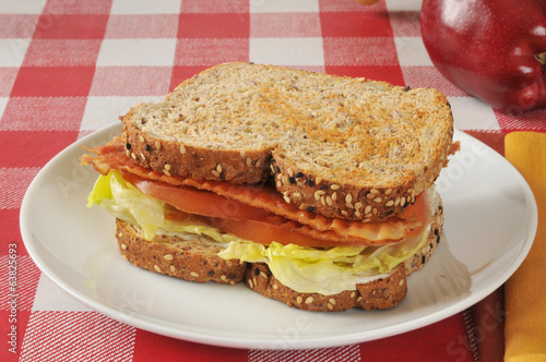 BLT Sandwich with an apple