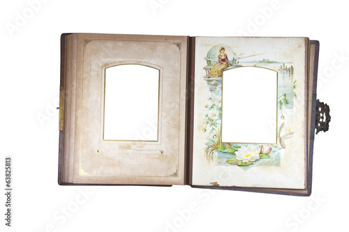 Open Antique Photo Album with Age Stained Pages