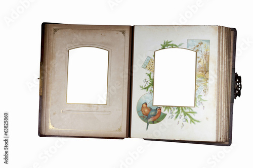 Open Leather Bound Antique Photo Album with Brass Clasp