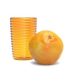 Naranja con vaso