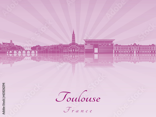 Toulouse skyline in purple radiant orchid