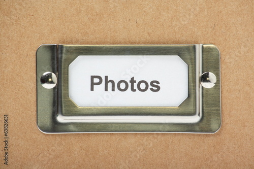 Photos Drawer Label on a cardboard drawer or storage box