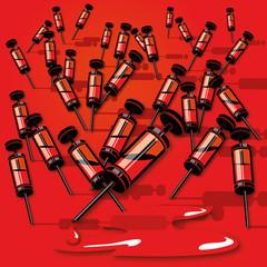 Viele kleine Spritzen mit Blut