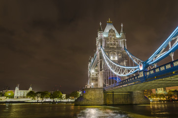 Panoramic view of Tower Bridge in London, night shoot