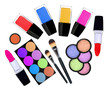 set of 5 eyeshadows, brushes, lipsticks and nailpolishes isolate