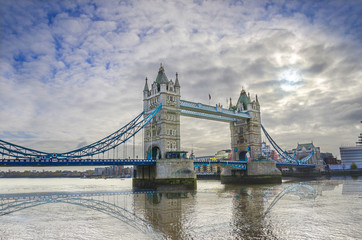 Tower Bridge in the morning, London, UK with dramatic sky