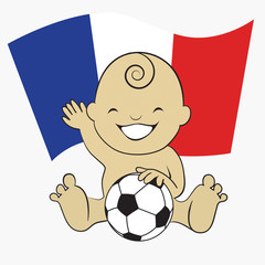 Baby Soccer Boy with France Flag