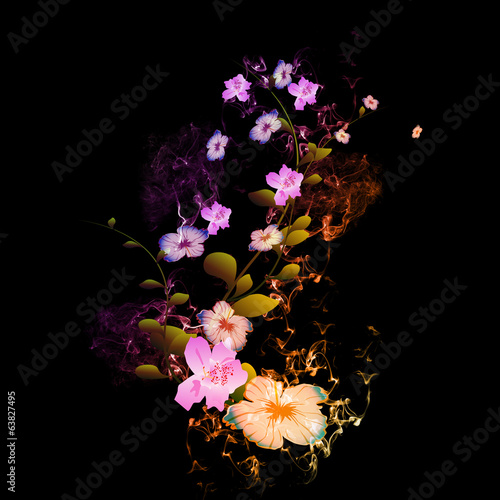 Beautiful flowers with flame