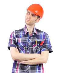 Thinking builder with orange helmet isolated on white