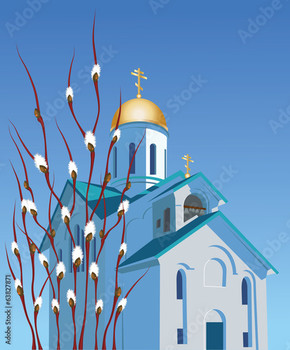 Orthodox church and willow