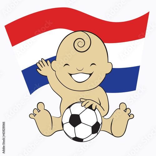 Baby Soccer Boy with Netherlands Flag
