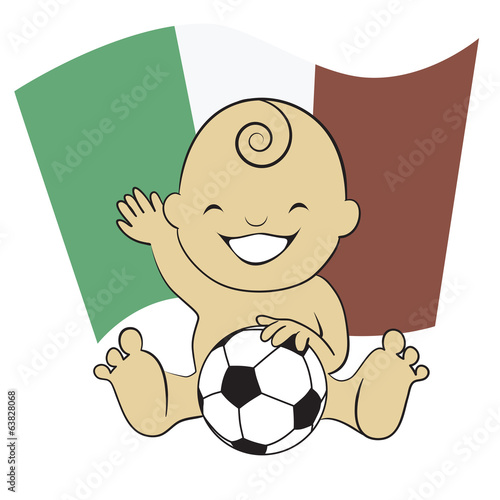 Baby Soccer Boy with Mexico Flag