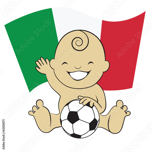Baby Soccer Boy with Italy Flag