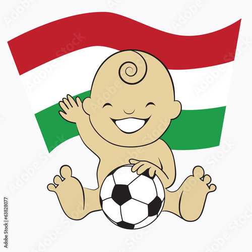 Baby Soccer Boy with Hungary Flag