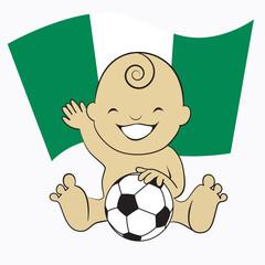 Baby Soccer Boy with Nigeria Flag