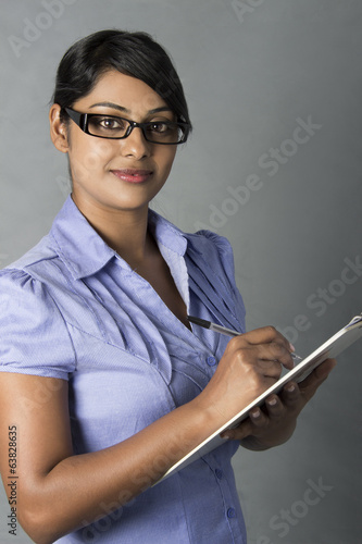 Beautiful Woman eyewear hold pen and clipboard