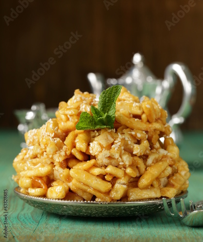 oriental sweets (chak-chak) with honey and sesame seeds
