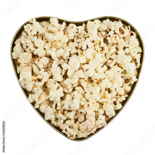 Heart shaped box full of popcorn