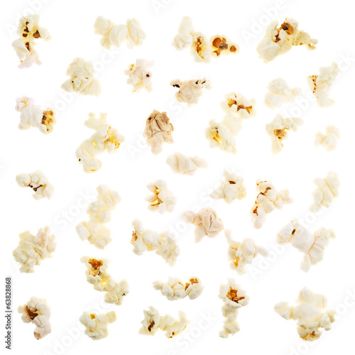 Single popcorn pieces isolated
