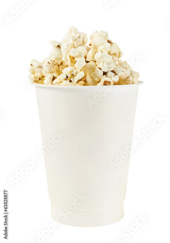 White cup full of popcorn