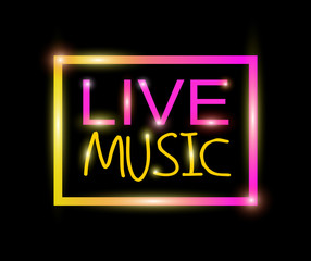 Live music colorful neon vector