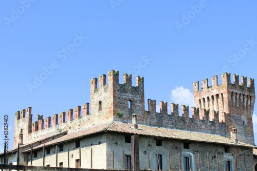 architectural detail of the ancient castle in Italy