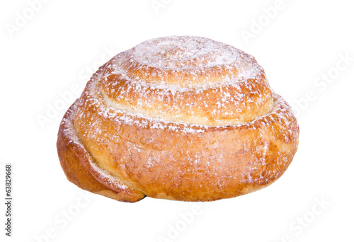 bun with powdered sugar on a white background
