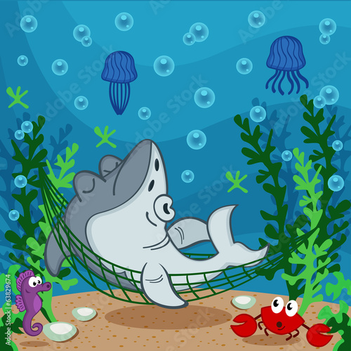 shark sleeping on the seabed - vector illustration