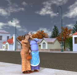 Mujeres cotilleando en la calle