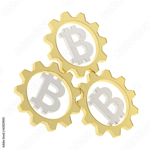 Three bitcoin cogwheel gears composition