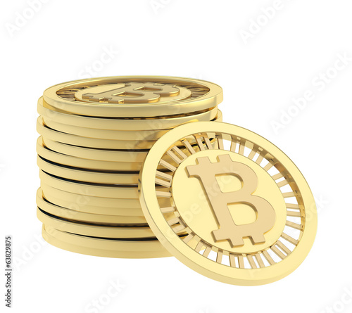 Stack of bitcoin currency coins
