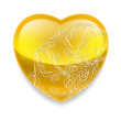 Shiny yellow heart with decor